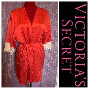 •100% Silk• Red Kimono Robe | Ivory Lace